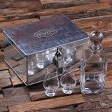 Monogrammed Whiskey Decanter & Snifters in Hand-Made Tin Case w/ Lock