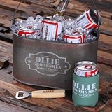 Personalized Tin Ice Bucket, Beer Can Holder & Wood Beer Bottle Opener