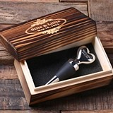 Personalized Heart-Shaped Stainless Steel Wine Stopper with Wood Box