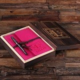 Personalized Felt Journal, Pen and Keepsake Wood Box Set (12 Colors)