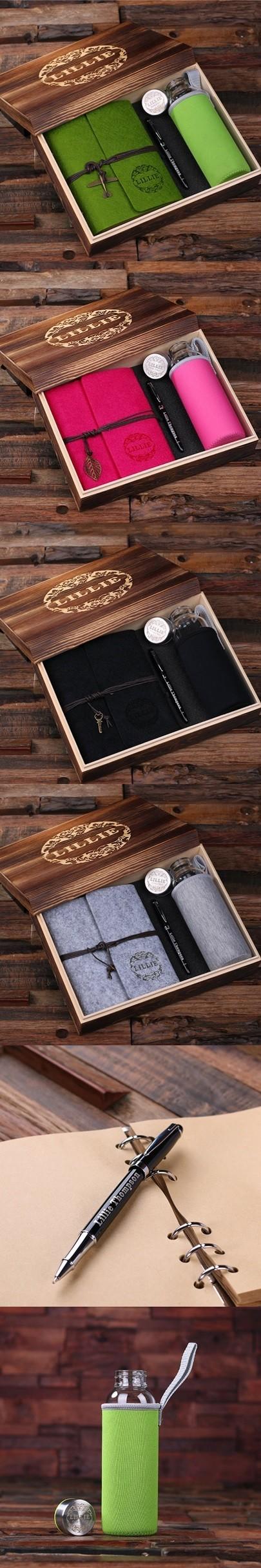 Personalized Gift-Set with Journal, Pen & Water Bottle in Keepsake Box