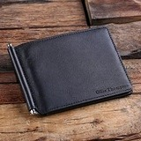 Personalized Slim-Fit Black Leather Bifold Slim Wallet/Money Clip