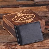 Personalized Leather Bifold Slim Wallet/Money Clip with Wood Gift Box