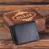 Monogrammed Leather Bifold Slim Wallet/Money Clip with Wood Gift Box