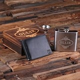 Personalized Engraved Leather Wallet & Steel Whiskey Flask in Wood Box