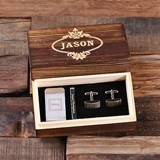 Personalized Money Clip, Tie Clip and Cuff Links in Wood Gift-Box