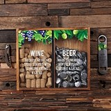 Wine Cork and Beer Cap Holder Shadow Box with Personalized Corkscrew