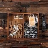 """In Wine, In Beer..."" Wine Cork & Beer Cap Holder Shadow Box"