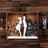 """His & Hers"" Beer Cap Holder & Wine Cork Holder Shadow Box"
