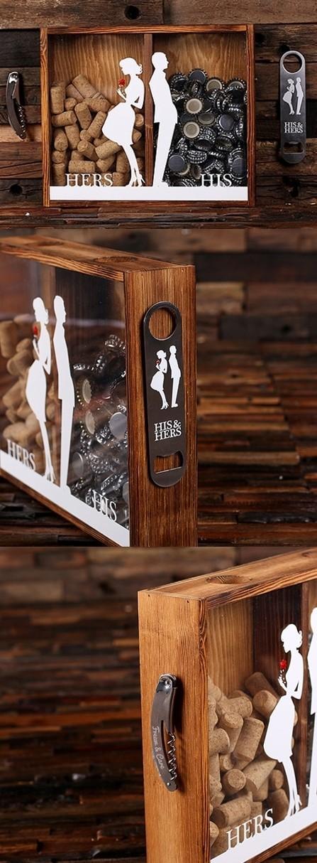 """His & Hers"" Beer Cap Holder & Wine Cork Holder Shadow Box"