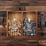"""Keep Calm"" Wine Cork Holder & Beer Cap Holder Shadow Box"