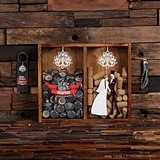Vintage Bride & Groom Design Beer Cap & Wine Cork Holder Shadow Box