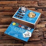 Explorer Ocean Design Personalized Flask Distillery and Poker Chips