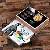 Gentleman Design Personalized Flask Distillery and Poker Chips