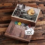 Hunter's Vista Design Personalized Flask Distillery and Poker Chips