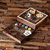 Explorer Map Design Gaming Set with Personalized Flasks & Poker Chips
