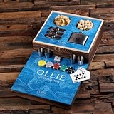 Explorer Ocean Design Gaming Set w/ Personalized Flasks & Poker Chips