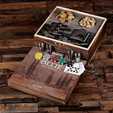 Hunter's Vista Design Gaming Set w/ Personalized Flasks & Poker Chips