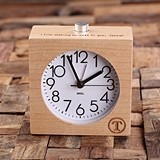 Personalized Wood-Case Quartz Alarm Clock with Analog Display