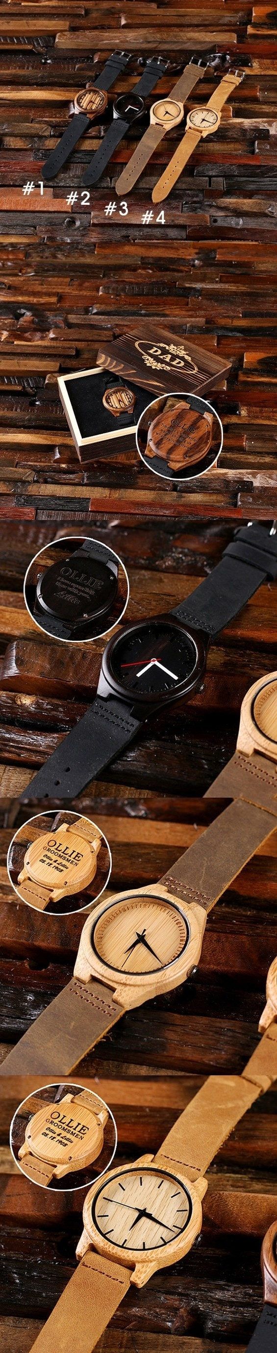 Personalized Engraved Bamboo-Wood Watch in Wood Gift-Box (4 Styles)