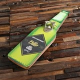 Personalized Beer Bottle w/ Diamond Label Wood Wall Hang Bottle Opener