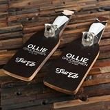 Personalized Wood Wall Hang Bottle Opener with 'Suit Up' Tuxedo Design