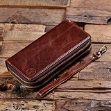 Monogrammed Brown Genuine Leather Woman's Zippered Clutch Pocketbook