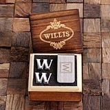 Personalized Initial Design Cuff Links and Money Clip in Wood Gift-Box