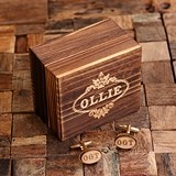 Monogrammed Gold-Plated Cuff Links with Wood Inserts in Wood Gift-Box
