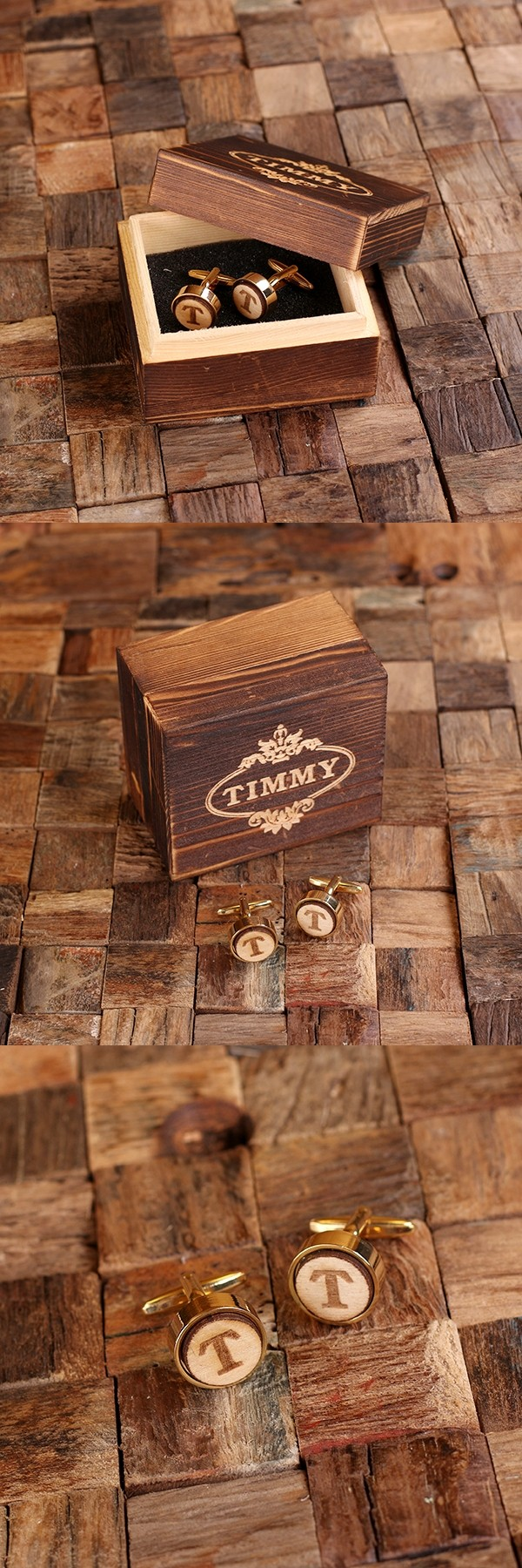 Single Initial Gold-Plated Cuff Links w/ Wood Inserts in Wood Gift-Box