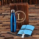 Monogrammed 5-Piece Women's Gift-Set with Felt Journal & Water Bottle