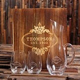 Personalized Wine Decanter & Stemless Wine Glasses Set in Wood Box