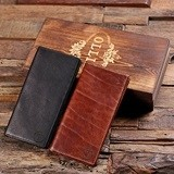 Monogrammed Bi-Fold Long Leather Wallet in Wood Box (Black or Brown)