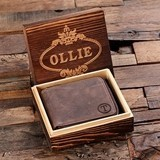 Monogrammed Zipped Leather Bi-fold Coin Wallet with Wooden Gift-Box