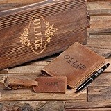 Personalized Gift-Set with Pen, Leather Passport Holder & Luggage Tag