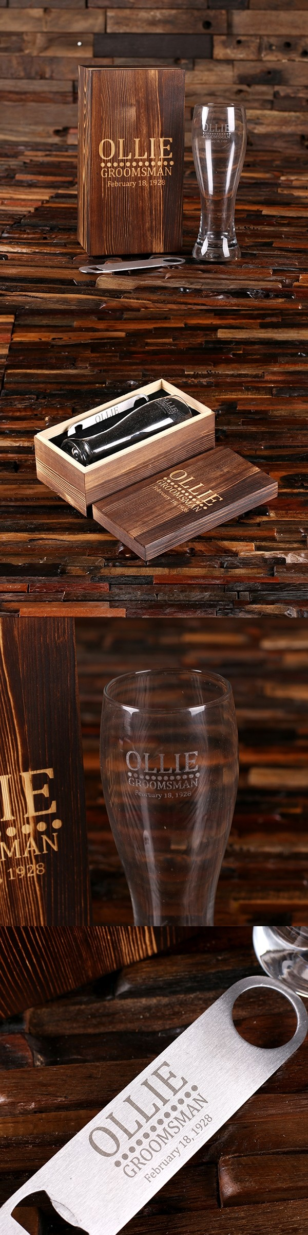 Personalized Pilsner Beer Glass and Bottle Opener in Engraved Wood Box