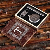 Monogrammed Round 5 oz Flask, Cigar Holder and Cutter in Wood Gift-Box