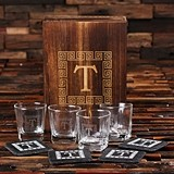 Monogrammed Gift-Set with 4 Whiskey Glasses & 4 Rustic Slate Coasters