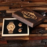 Personalized Tan-Colored-Bamboo-Wood Watch and Cuff Links in Wood Box