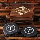 Monogrammed Rustic Round Slate Coasters with Wood Box (Set of 4)