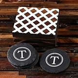 Monogrammed Slate Coasters Set in Patterned-Lid Wood Box (Set of 4)