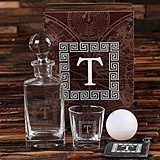 Monogrammed Whiskey Decanter, Glass, Slate Coaster and Ice Ball Maker