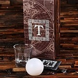 Monogrammed Whiskey Glass, Slate Coaster and Ice Ball Maker Gift-Set