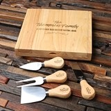 Personalized Cheese Serving Tray/Cutting Board with Four Cheese Tools