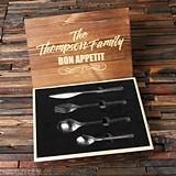 Personalized 24 pc Stainless-Steel Cutlery Set in Keepsake Wooden Box