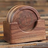 Laurel Crest Monogram Wood Coasters with Holder Stand (Set of 6)