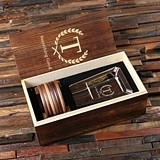 Personalized Stainless Steel Cigar Ashtray and Wood Coaster Set in Box