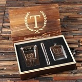 Personalized Stainless Steel Cigar Holder, Ashtray & Flask in Wood Box