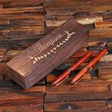 Personalized Merbau-Wood Executive Capped Pen Set with Keepsake Box