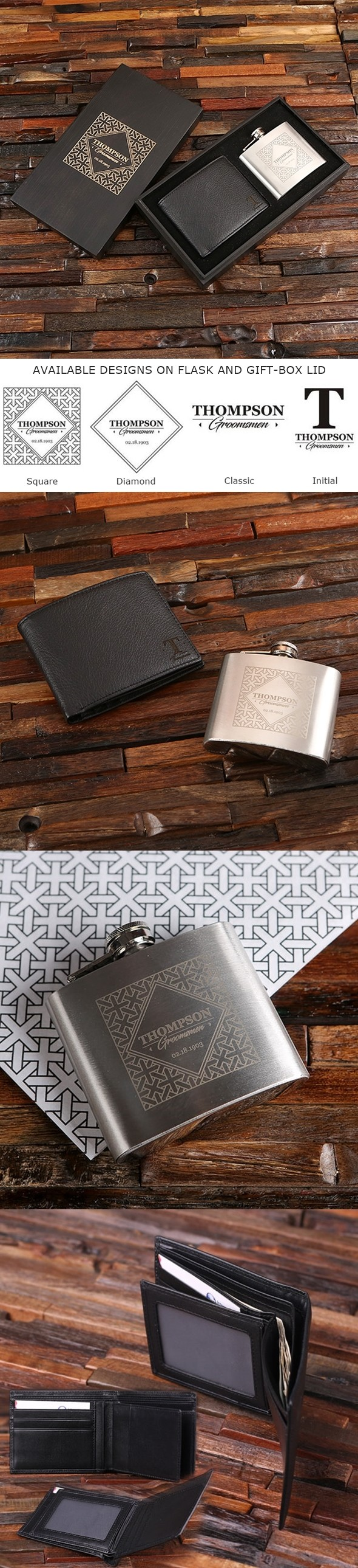 Personalized Leather Wallet & Swing-Top Flask in Black Sheen Wood Box